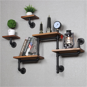 Antique simple wooden bookshelf corner shelves industrial DIY metal iron pipe Floating mounted hanging wall shelf for home