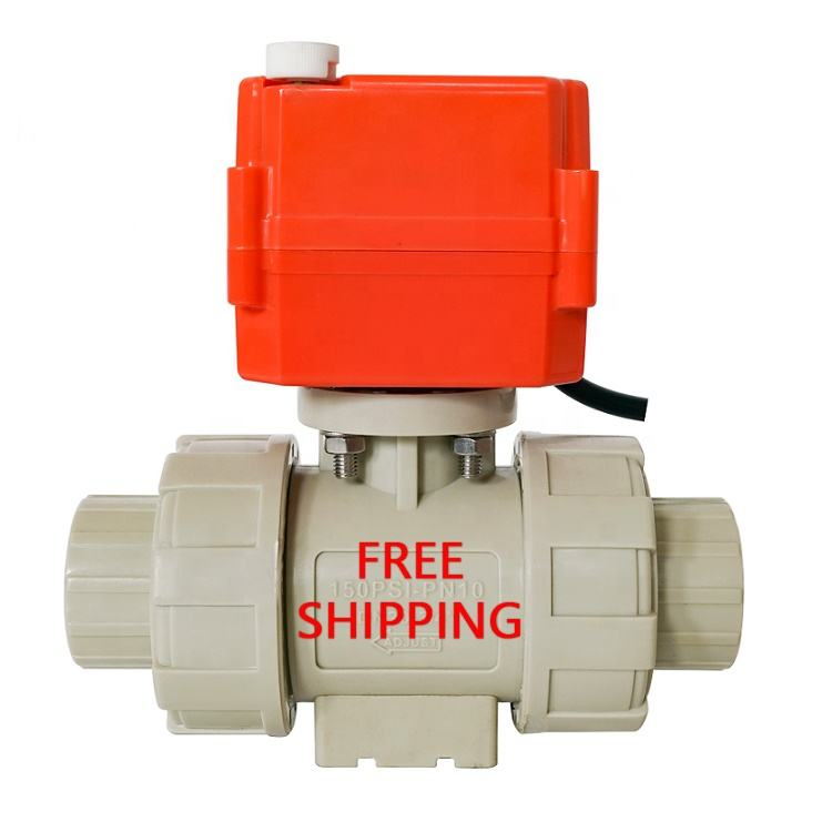HEPHIS Free Shipping DN15-DN100 PVC PPH DC12V24V 2ways Plastic Motor Drive Ball Valve With Electric Actuator For Water Treatment