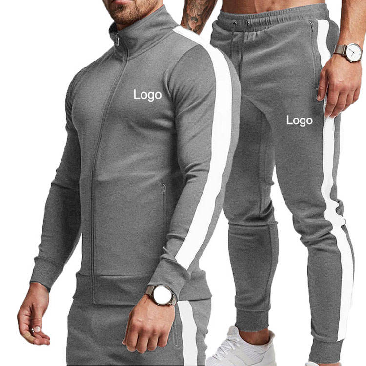 High Quality Polyester Spandex Sweat Suits Sets Fall Plain Sports Wear 2 Piece Mens Sweat Suits