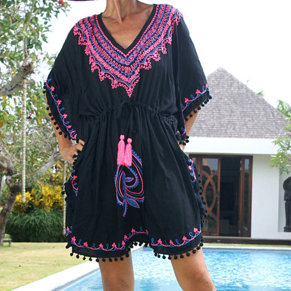 Latest Design New Arrival Ladies Floral Embroidered Kaftan For Beachwear Apparel Pom Pom black Rayon Kaftan