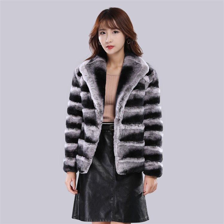 2019 new style customized winter fashion rex rabbit fur short coat with lapel collar plus size womens