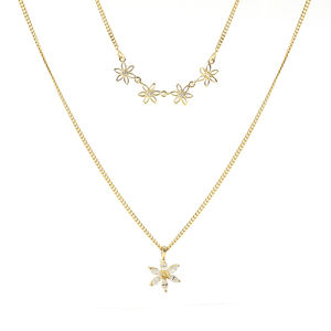 Trendy petal jewelry 925 sterling silver gold plated double layer chain flower necklace for women