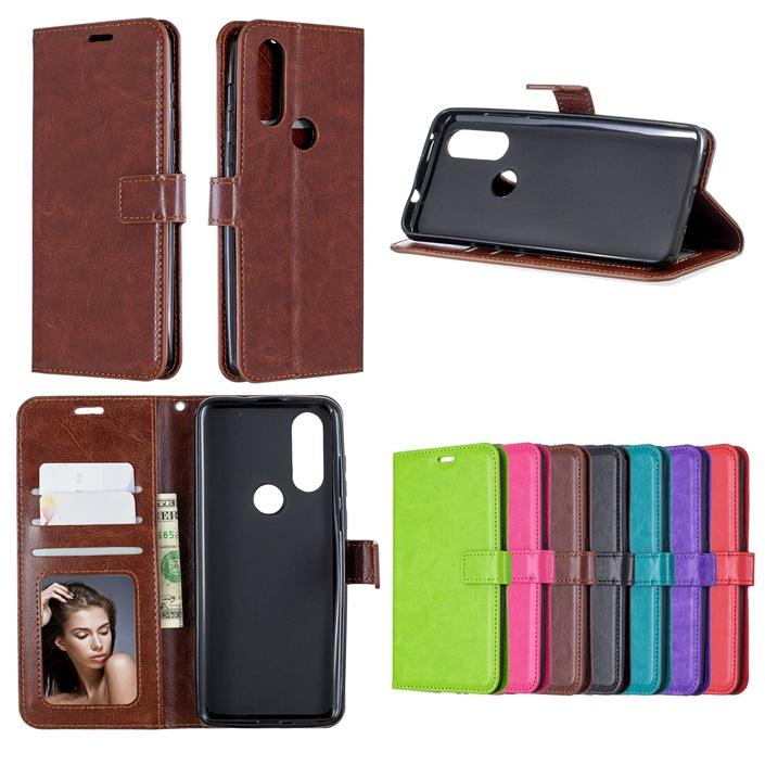 Wallet Leather Case For MOTO G4 Plus G5 Z Play G7 Power For MOTO One P30 Play One Vision P40 One Action Crazy Horse Flip Cover