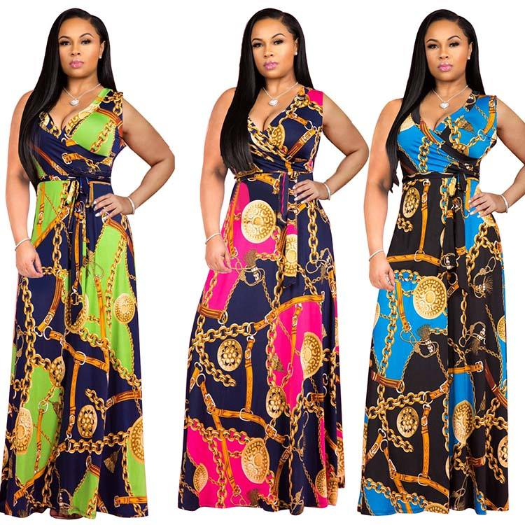 Floral printed plus size long sleeveless maxi dresses women