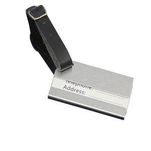 Travel Blank Silver Airplane Personalized PU Leather Custom Luggage tag Metal