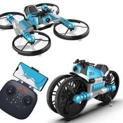 2 in 1 land and air watch rc 4 axis foldable deformation motorcycle drone with camera