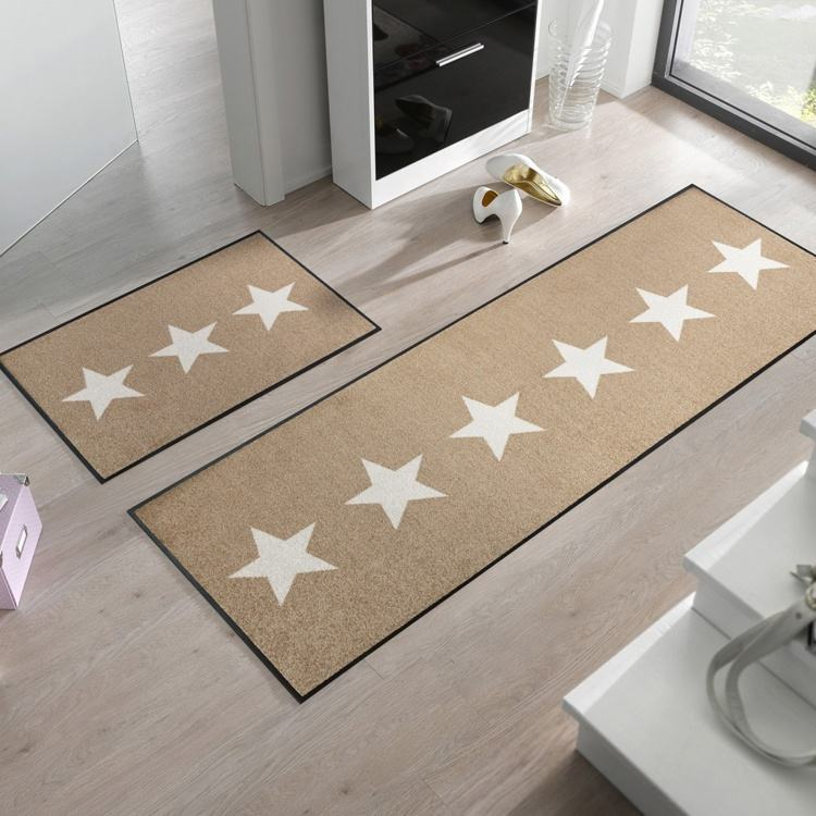 Modern design stars washable door mat floor mat with rubber backing