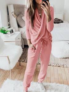 new style high quality women's pajamas long sleeve sleepwear wrap front loungewear