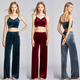 Gold velvet cami and wide-leg pants women's autumn and winter high waist loose drape feeling straight thin slim pants set casual