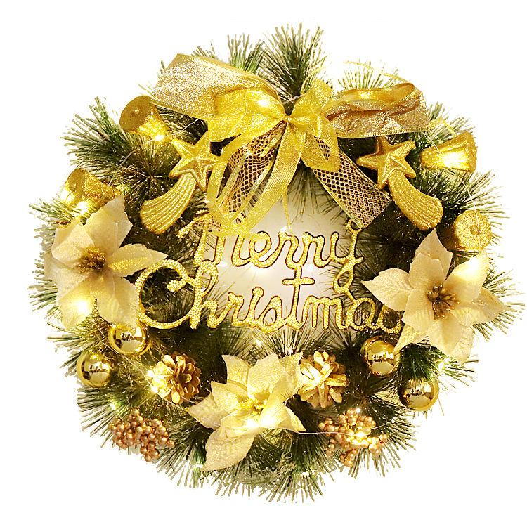 Venta caliente 40cm de Corona de Navidad con Led para el hogar de la pared de la puerta de la ventana Decoración
