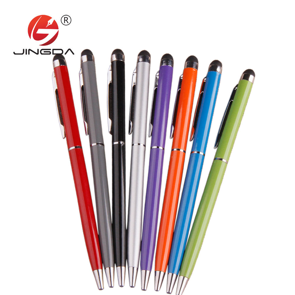 2 in 1 Promotional Metal Aluminum Hotel Cross Soft Touch Screen Metal Ball Pen