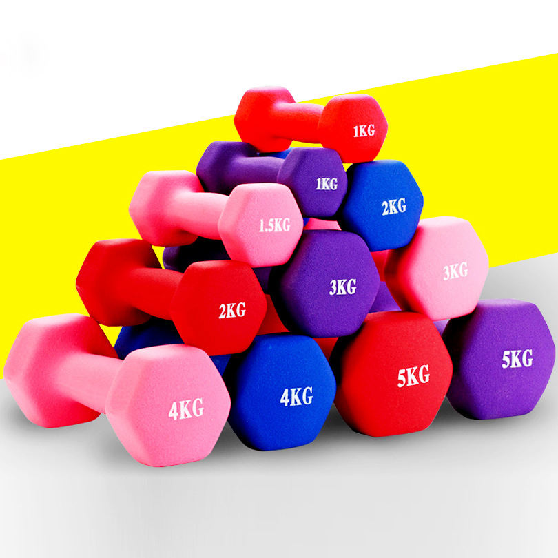 weight lifting Neoprene Coated rubber vinyl hex Dumbbell for Women