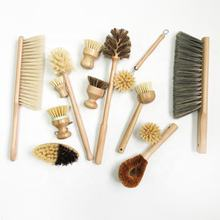 Natural Eco Friendly Bamboo Wooden Coconut Sisal Cleaning Dish Bottle Pot Brush Cleaning Brush Set With Wooden Handle