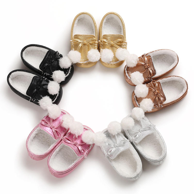 2019 Baby Shoes Infant Baby Girls Boys Fur Ball Winter Warm Shoes Prewalker Casual Toddler Newborn Crib Soft Warm Shoes 0-18M