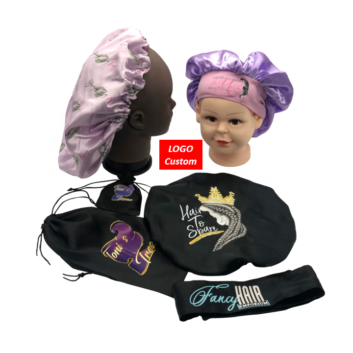 Low MOQ Sample Free women hair accessories satin silk bonnet with custom logo