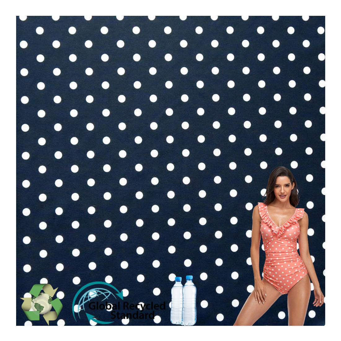 High Quality 4 Way Stretch 84% Nylon 16% Spandex Recycle Swimwear Fabric For Swimsuit
