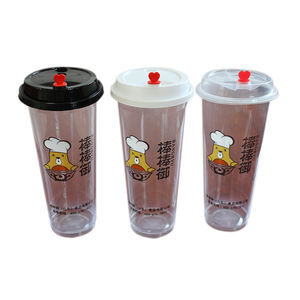 Food Grade Plastic Juice Cup  Clear Reusable Disposable Plastic Cup With Lid