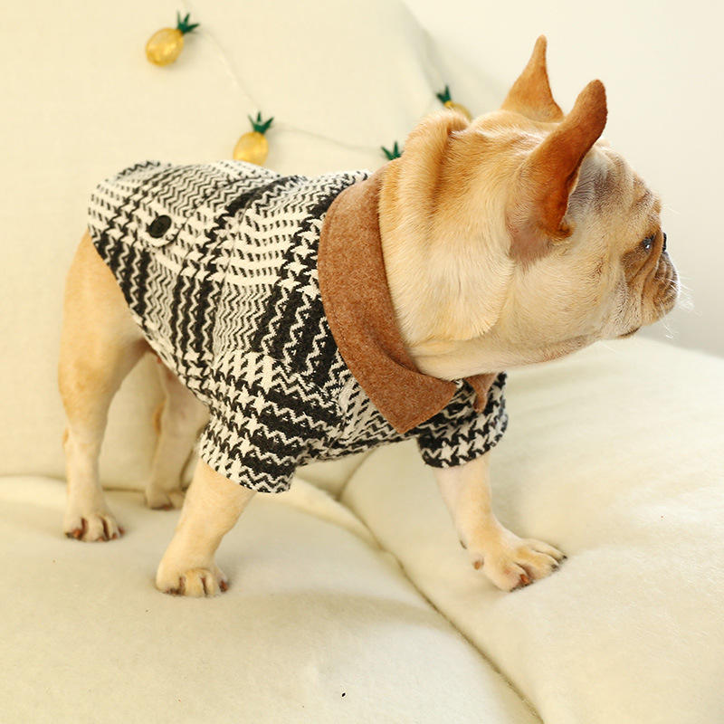 JXANRY Pet Teddy Clothes Fashion Autumn Winter Dog Apparel Black and white Kiwi plaid jacket Pet Products Supplier Wholesale