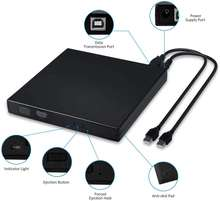 Raycue USB 2.0 Portable Drive Rewriter Slim External CD DVD Player