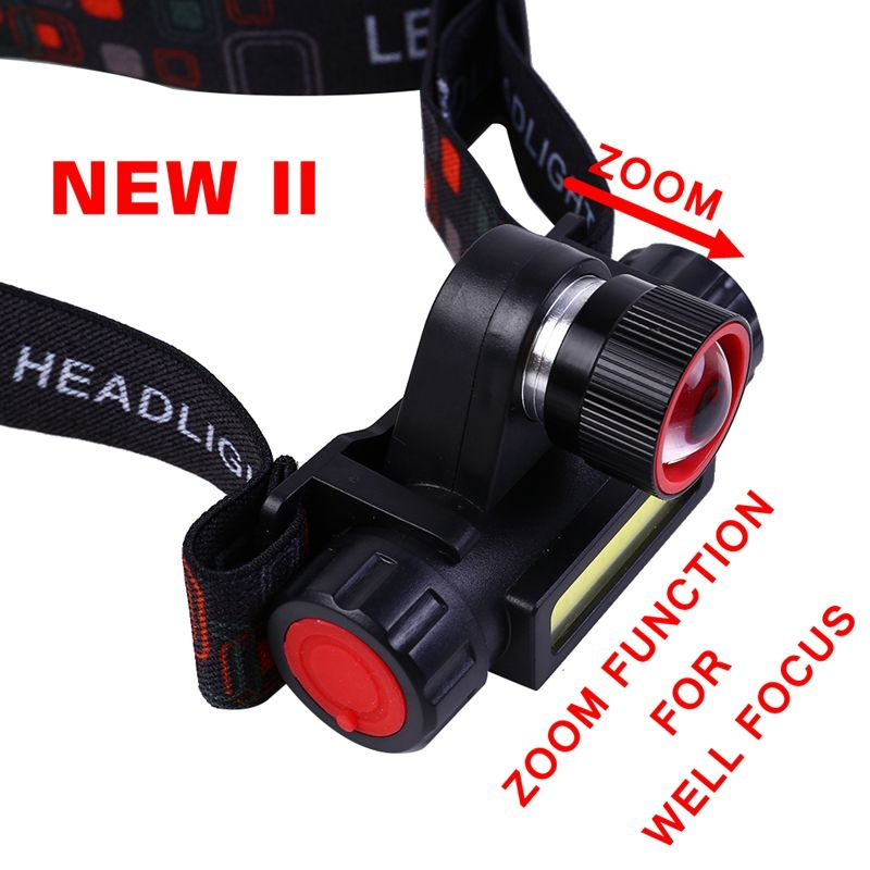 new USB rechargeable LED headlamp 3 W COB high lumen lithium battery waterproof 2 beams headlight zoom head lamp light