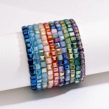 fashionable popular multi color single string square stone women beads handmade woven glass crystal lady bracelet