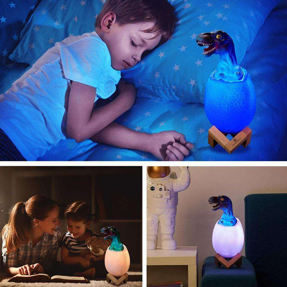 16 Colors Changing Dinosaur Egg LED Night Light Rechargeable Touch Lamp Decor