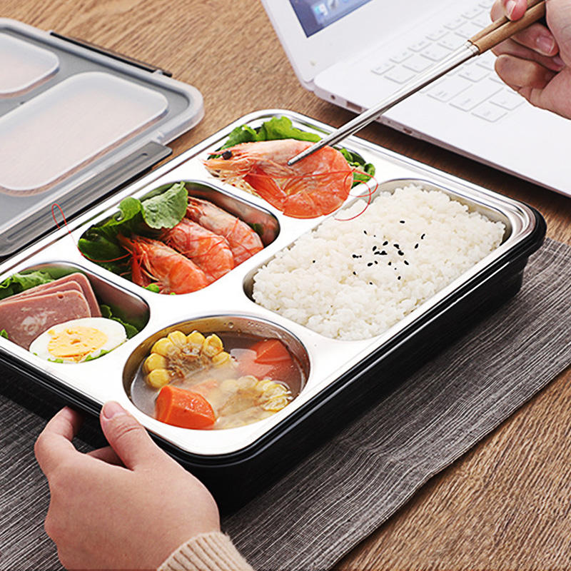 5 compartment 850ml portable mini small electric self-heated lunch box food warmer container for catering stainless steel