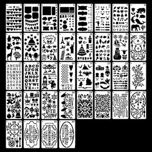 Amazon Hot Sale 36pcs Drawing Loose Leaf Stencils Scale Template Sets for Painting Card Craft Projects and Scrap booking DIY