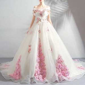 XS-3XL Off Shoulder Bridal Wedding Dress Evening Party Floral Plus Size Long Trailing Ball Gown