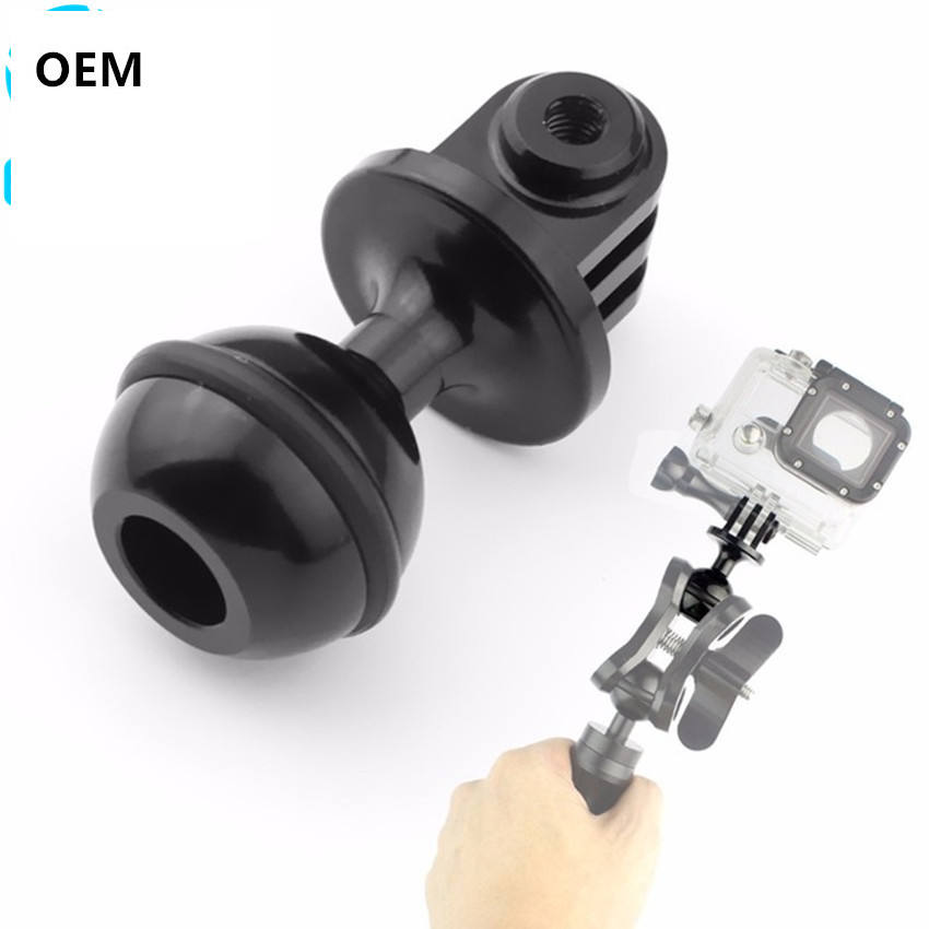 CNC 360 Degree Rotation Ball Head Base Mount Tripod 2.5cm w Screw for Hero 5 4 3 3 Session for XiaoYi SJCam GitUp Action Camera
