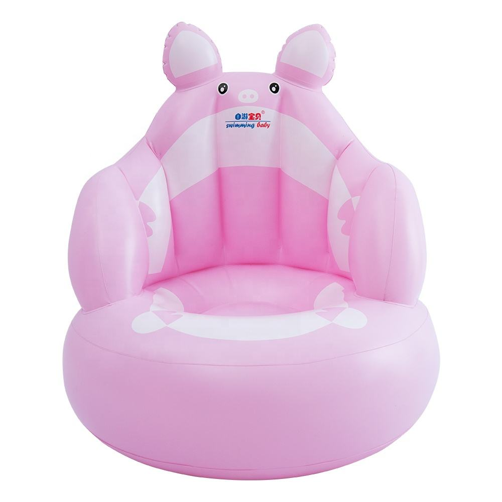 2020 New Design Pig Animal Shape Inflatable Baby Bath Chair Inflatable Baby Sofa