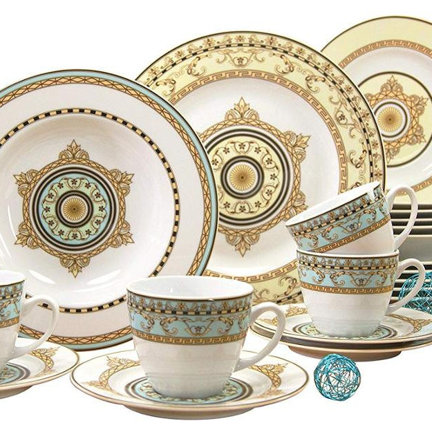 Spain Style porcelain 30pcs round germany fine porcelain dinnerware set with gold design