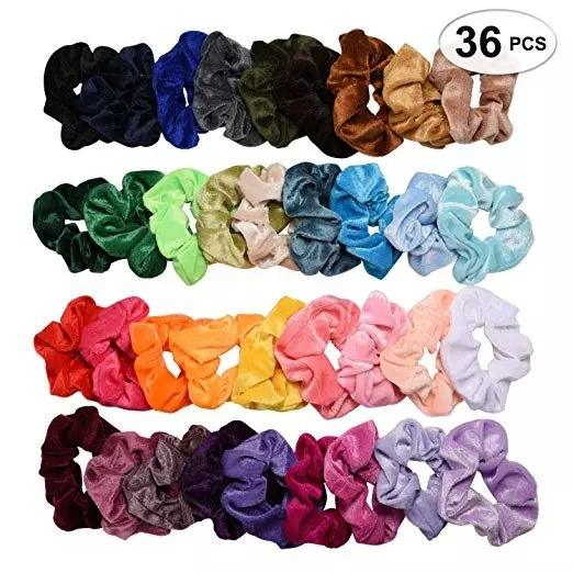 Factory Wholesale Fashion 36 Colors Velvet Elastic Hair Bands Latest Design Best Selling Large Size Women Scrunchines