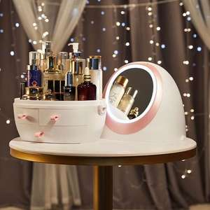 3 Shelf Cosmetics Packaging Desk Makeup Storage Box With Led Mirror
