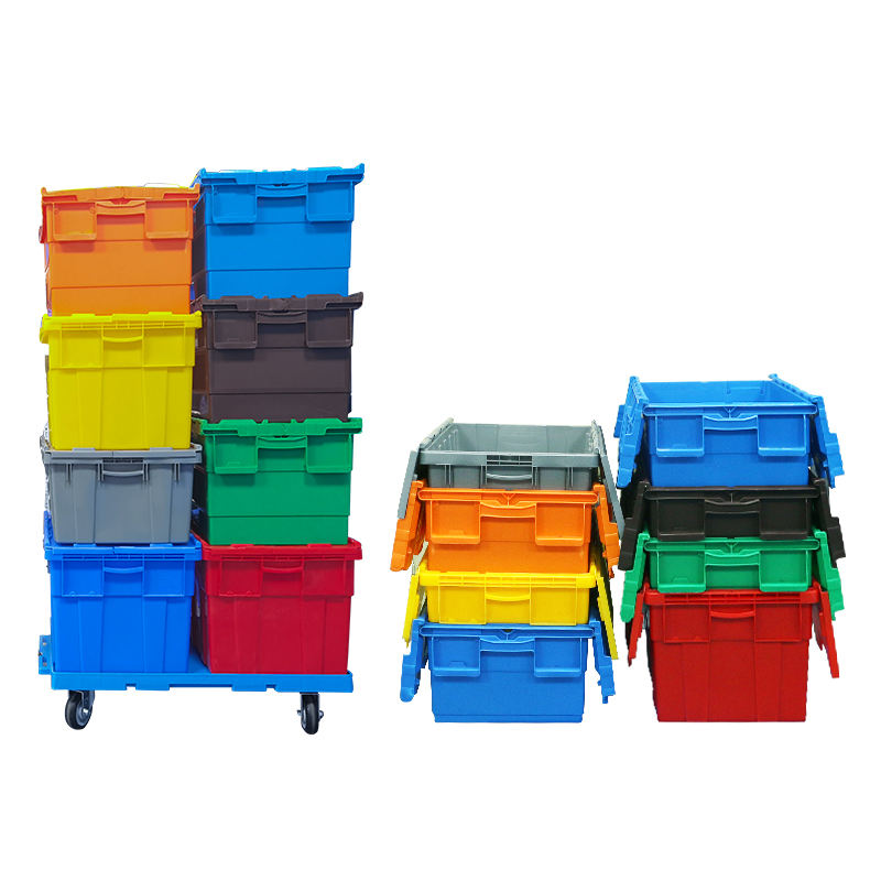 Wholesale Big Crate Price Stackable Crates Plastic Storage With Lid attached lid tote container