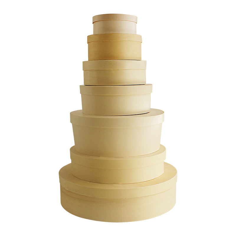 Biodegradable Takeaway Packaging Box Round Cake Veneer Box Wooden Cheese Box