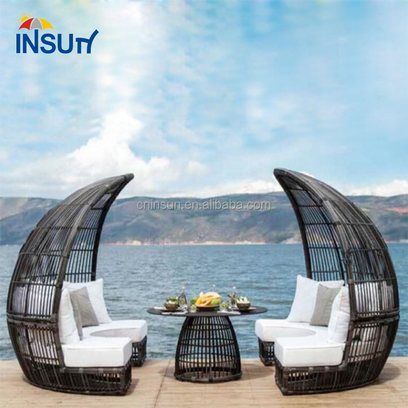 rattan sunbed double sunbed outdoor sunbed cushion for sale