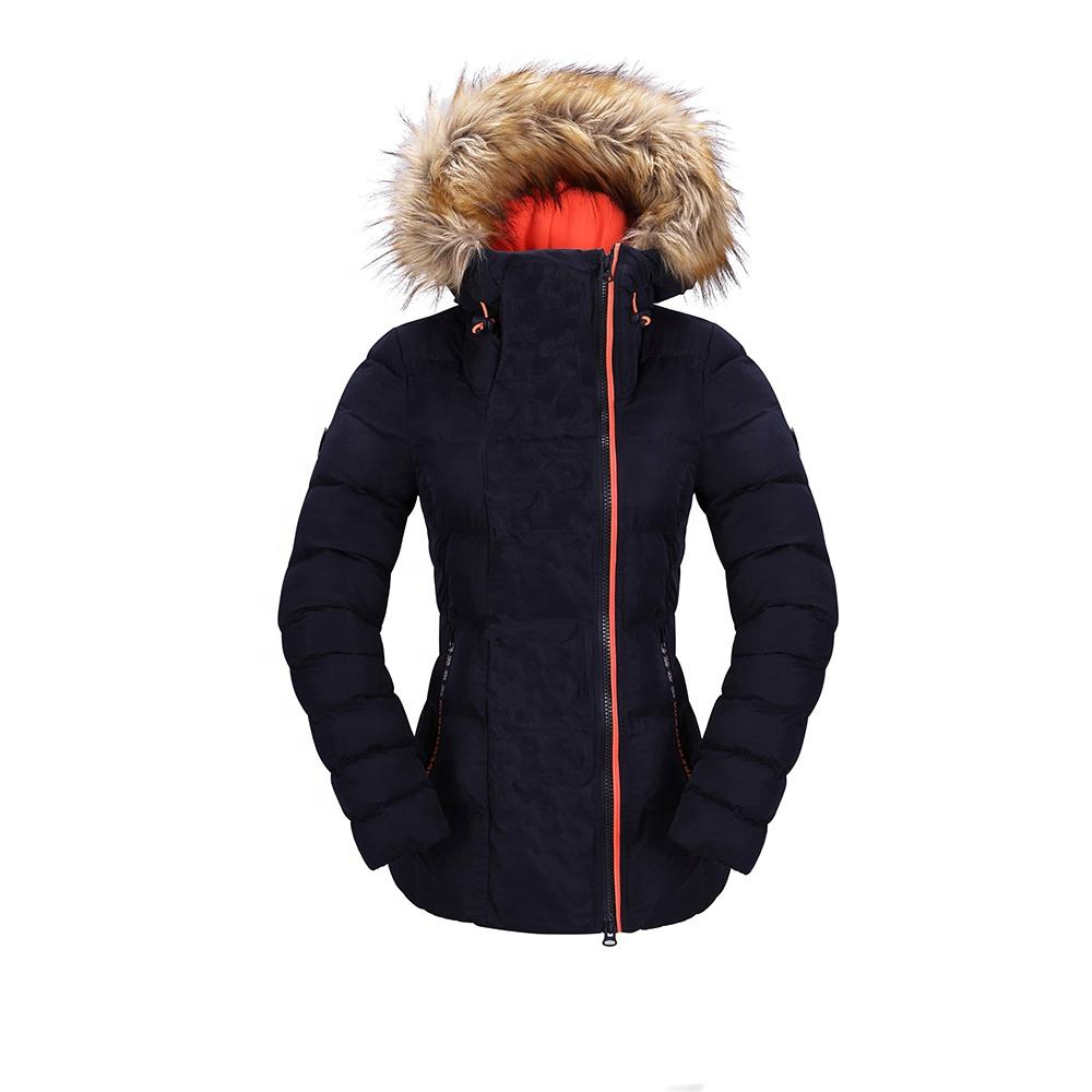 HOT SELLING FASHION COMFORTABLE OUTDOOR SPORTS CASUAL WATERPROOF WINDBREAKER BREATHABLE PADDING FUR HOOD WINTER PUFFER COAT