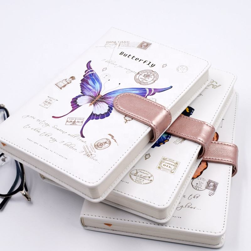 Girl journal gift custom luxury printed A5 hard cover pu leather notebook