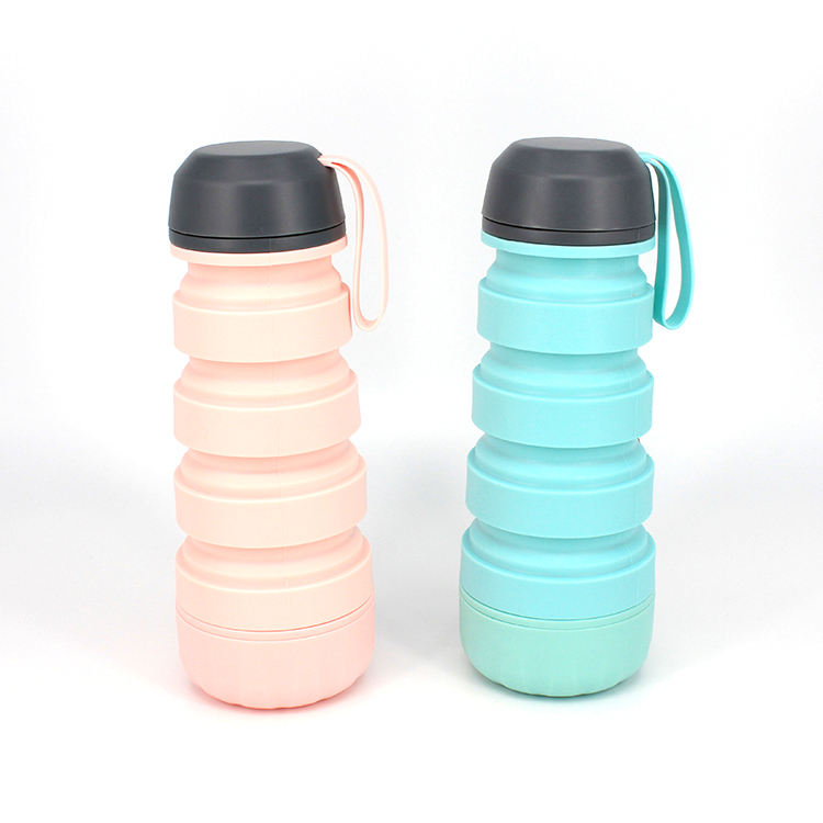 Silicone Grey Collapsible Protein Shaker Sport Water Bottle 400ml
