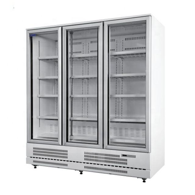 Supermarket Commercial Vertical Plug In Upright Glass Door Cold Energy Drink Beverage Display Refrigerator Freezer