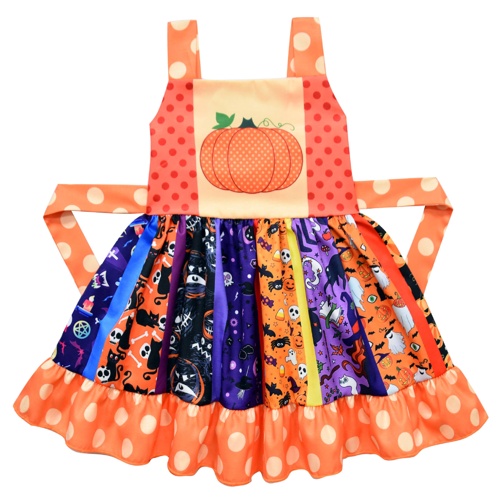 Halloween cute little girl pumpkin ghost dress
