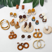 New Fashion design jewelry korean handmade environment friendly wood flower Bamboo Pearl Shell rattan earring for women