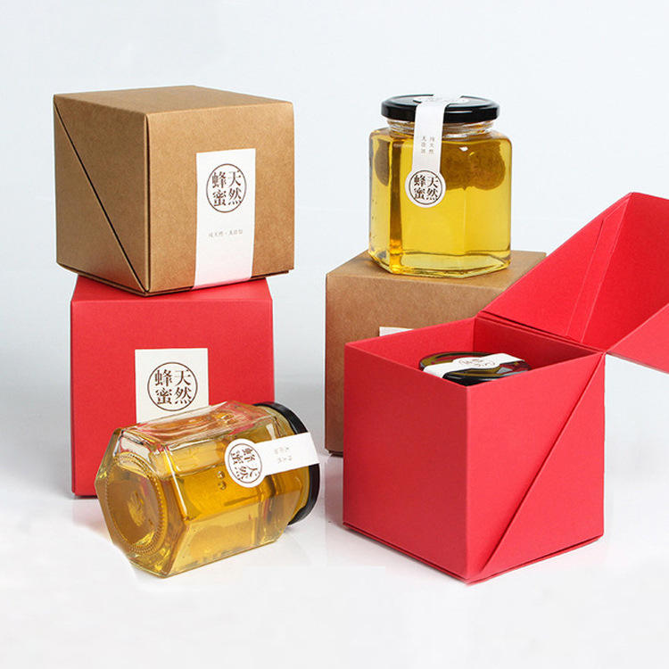 Custom Paper Board Cubilose And Honey Jar Packaging Box