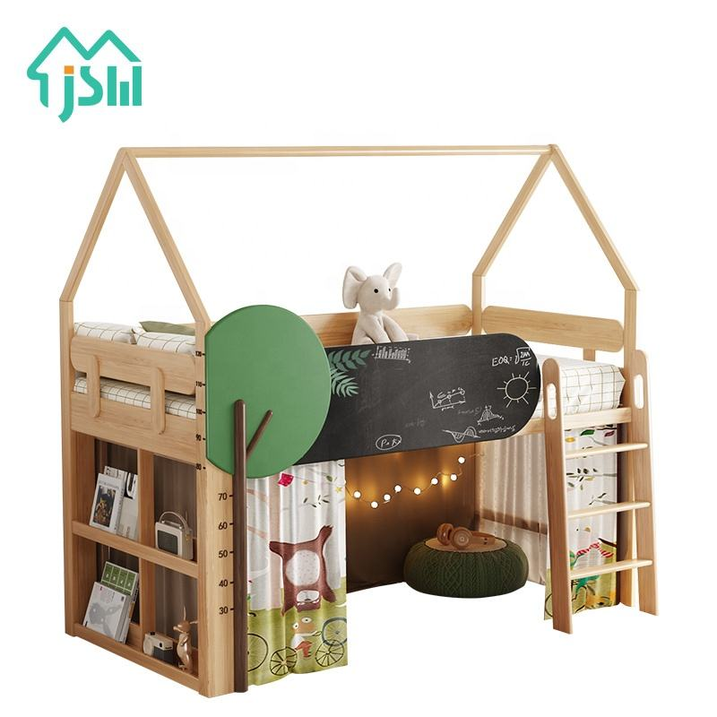 Jieshi Furniture Leaf Cartoon Decoration Different Size Wooden Bunk Bed House Model Children Bed