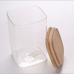 Eco-friendly Square Food Storage Container Glass Jars With Airtight Bamboo Lid
