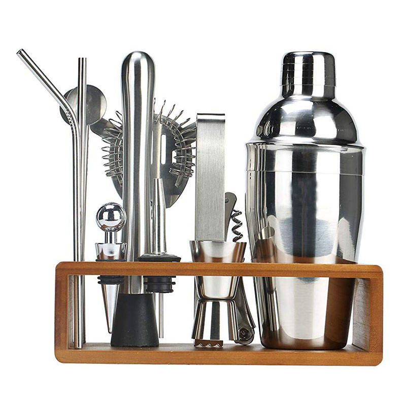 2020 Amazon Hot Sale 13-Piece 550ml Cocktail Bar tools Set with High Quality Bamboo Stand Bartender Kit SS304 Bar Set