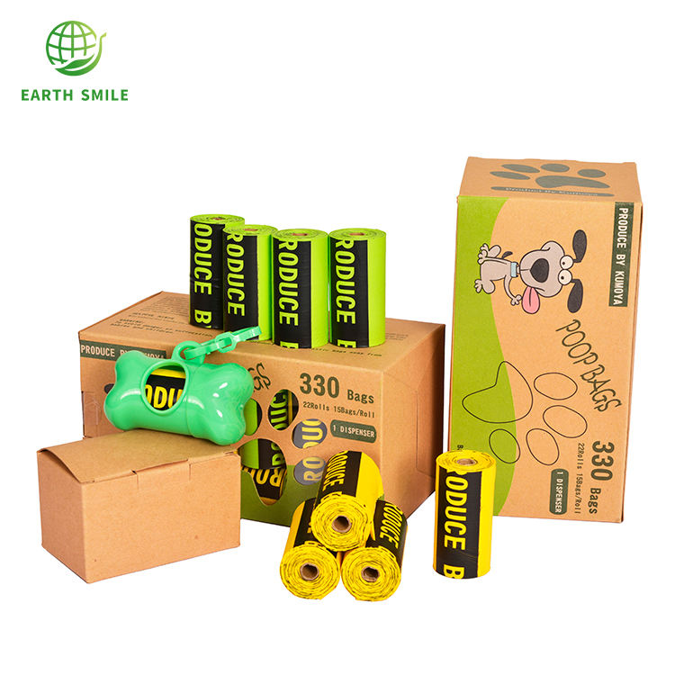 EN13432 Customized Logo Portable Degradable 100% Biodegradable Dog Poop Bags On Roll