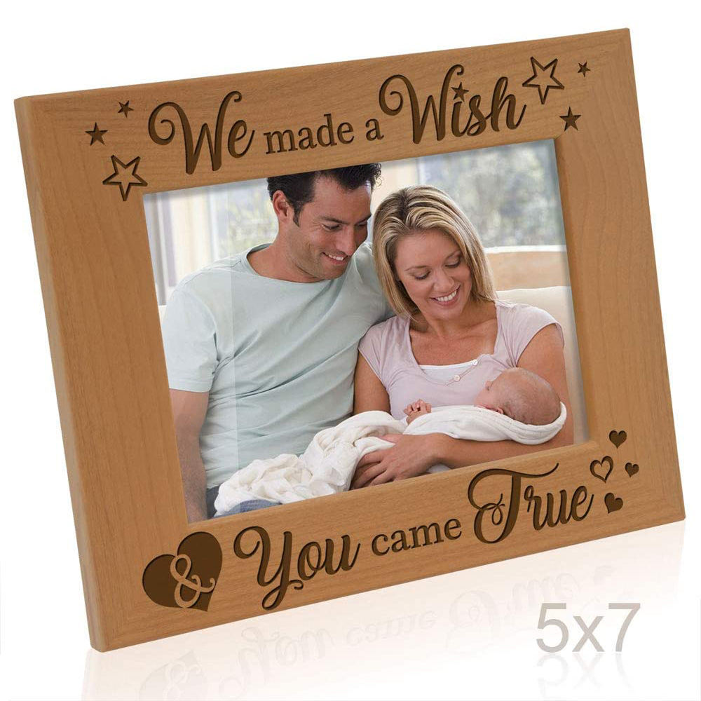 PHOTA 5x7 Horizontal Engraved Natural Wood Picture Frame for New Baby Gifts