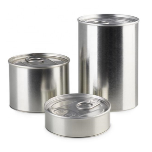 Wholesale empty food grade silver pressitin tin cans with custom stickers -cans packaging wholesale
